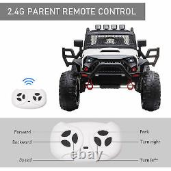12V 2-Seater Kids Electric Ride On Police Car Camouflage Truck Toy Remote, White