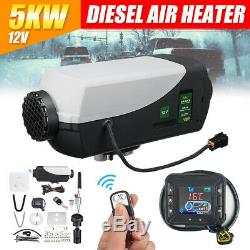 12V 5KW Diesel Fuel Air Heater LCD Switch Car Truck Heating + Remote