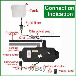 12V 8KW Air Diesel Heater LCD Monitor Remote 4 Holes Silencer for Truck Boat Car
