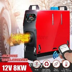 12V 8KW All in 1 Air Diesel Heater LCD Thermostat Remote For Car Truck Trailer