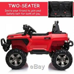 12V Ride On Car 2 Seat SUV Truck w Remote Control 3 Speeds LED Light Bar Red