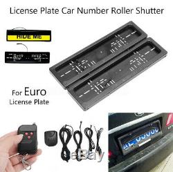 2X Euro Car Shutter Cover Up Electric Stealth License Plate Frame Holder+Remote