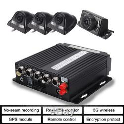 4CH AHD Auto Car Truck 3G Wifi GPS DVR Video Recorder +4 Camera Cable Remote Kit