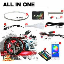 4x 15 RGB Rings for Truck Car Wheel Rims Lights Kit withSound Active Brake Mode
