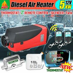 5KW 12V Diesel Air Heater 10L Tank Remote Control LCD For Truck Boat Car