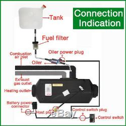 5KW 12V Diesel Air Heater Fuel Tank LCD Switch Remote For Truck Boat Car Trailer
