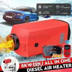 8KW 12V 10L Tank LCD Diesel Air Heater Quiet Thermostat Remote For Truck Car