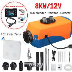 8KW 12V Air Diesel Heater LCD Monitor Remote Silencer For Truck Boat Car Trailer