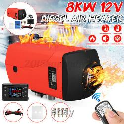 8KW 12V Diesel Air Heater LCD Thermostat Remote Low Noise For Trucks 2020