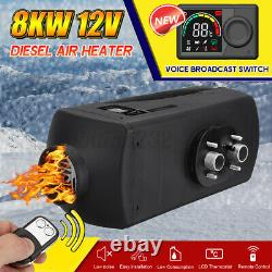 HCalory Voice LCD 12V Diesel Air Heater 8KW RV Thermostat Remote Car Truck Bus