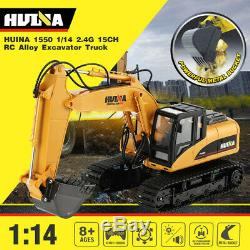 HUINA 1550 114 15CH Alloy Remote Control RC Excavator Truck Engineering Car