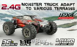 Hosim 116 RC Car 4WD 36km/h High Speed Remote Control Monster Truck 9135 Red