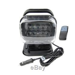 LED Marine Remote Control Spotlight Offroad Truck Car Boat Search Light 50W 7