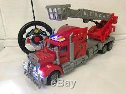 Large Fire Engine Rc Remote Control Truck Car Led & Sirens Lights Boxed