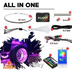 Smartphone Controlled 15in Wheel Ring Light Kit Universal Car/Truck Music mode