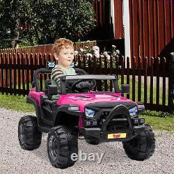 TOBBI 12 Volt Electric Remote Control Kids Toy Ride On Truck, Rose Red